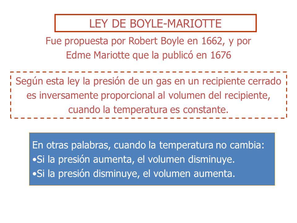 LEY DE BOYLE-MARIOTTE Fue propuesta por Robert Boyle en 1662, y por Edme Mariotte que la publicó en 1676.