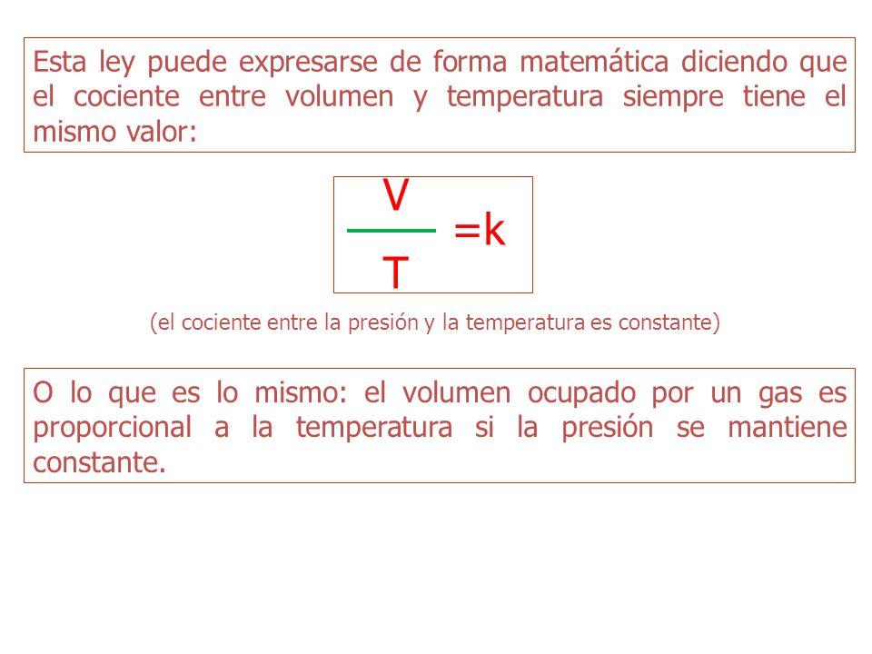 Esta ley puede expresarse de forma matemática diciendo que el cociente entre volumen y temperatura siempre tiene el mismo valor: