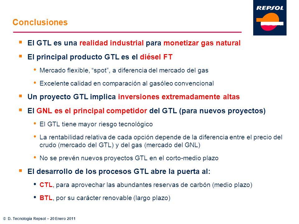 Conclusiones El GTL es una realidad industrial para monetizar gas natural. El principal producto GTL es el diésel FT.