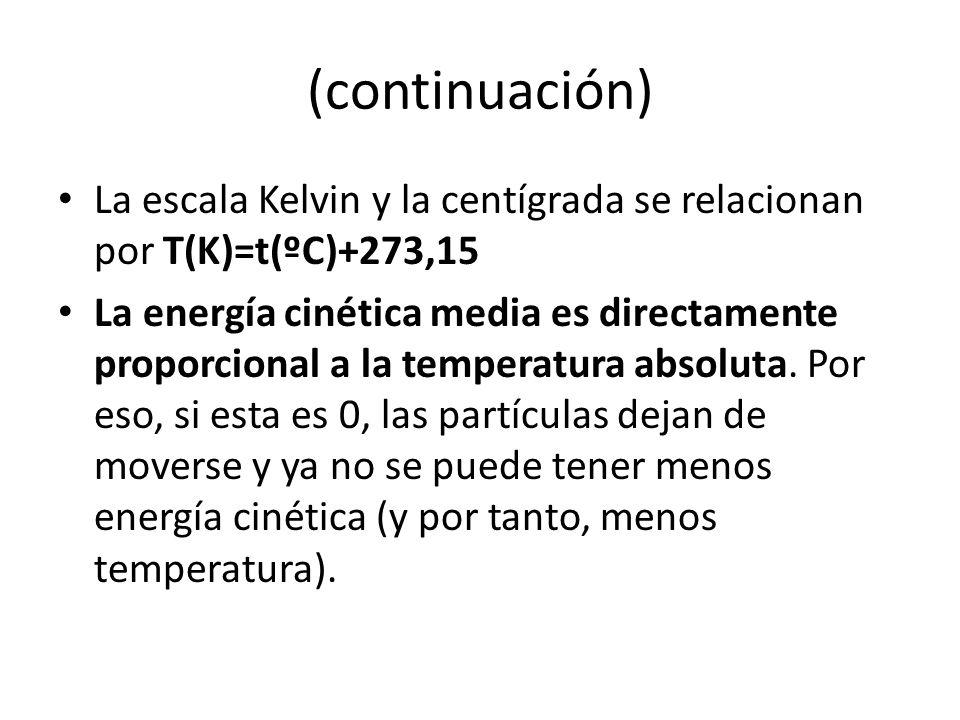 (continuación) La escala Kelvin y la centígrada se relacionan por T(K)=t(ºC)+273,15.