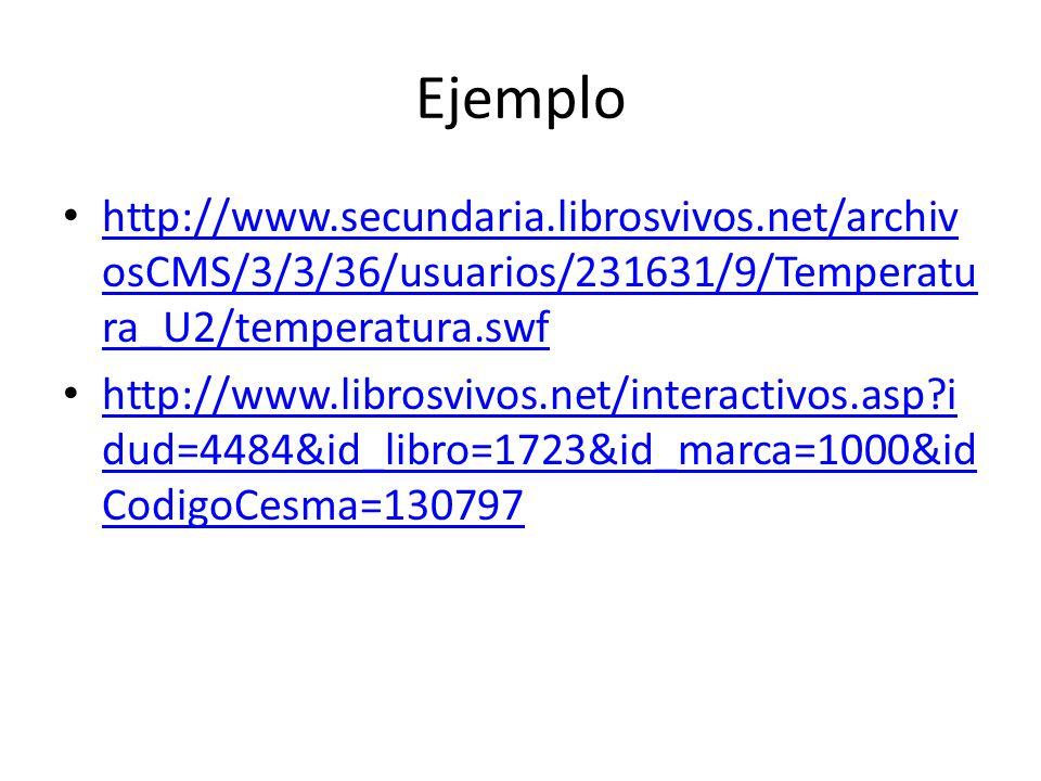 Ejemplo http://www.secundaria.librosvivos.net/archivosCMS/3/3/36/usuarios/231631/9/Temperatura_U2/temperatura.swf.