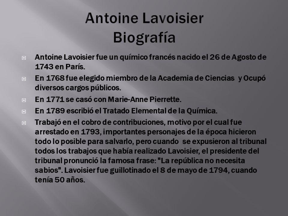 Antoine Lavoisier Biografía