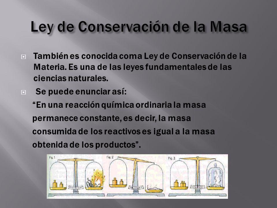 Ley de Conservación de la Masa