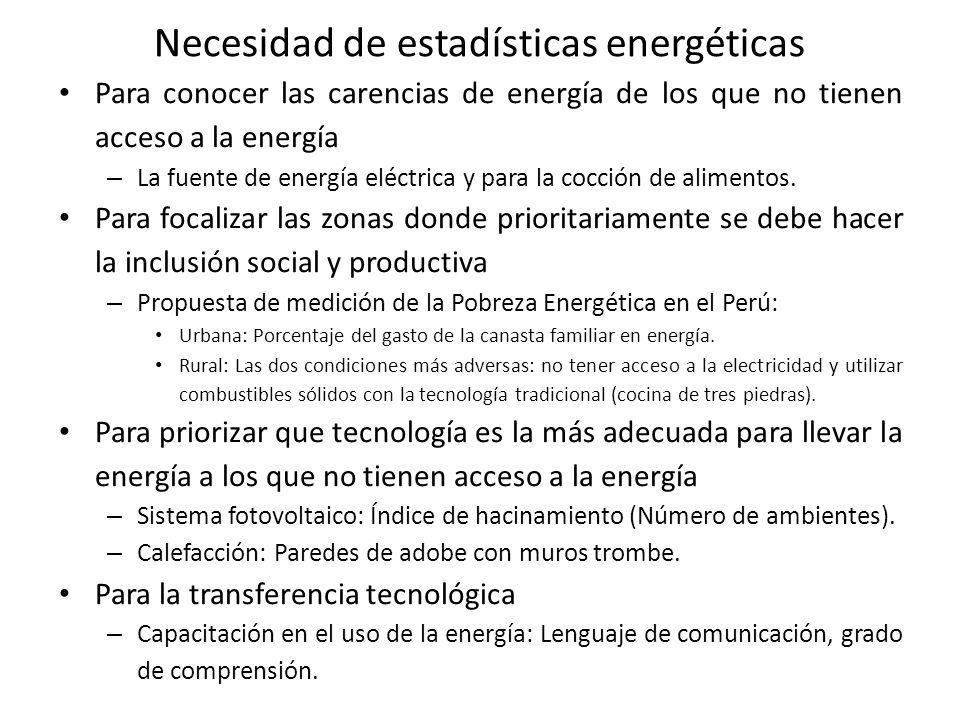 Necesidad de estadísticas energéticas