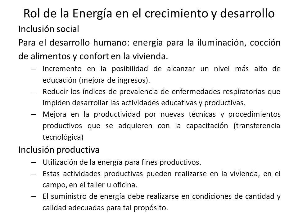 Rol de la Energía en el crecimiento y desarrollo