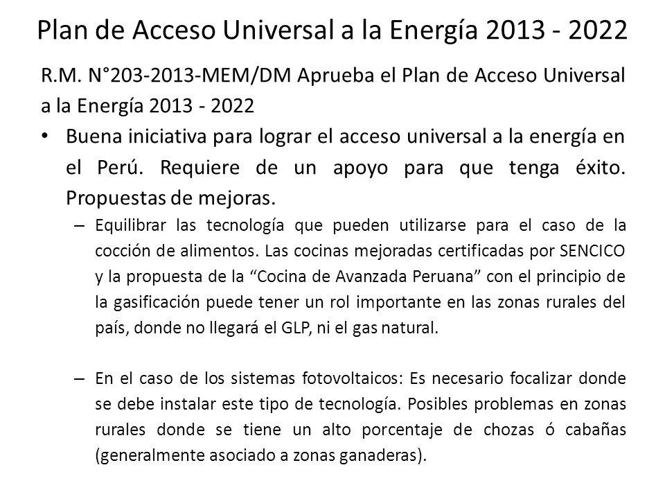 Plan de Acceso Universal a la Energía 2013 - 2022