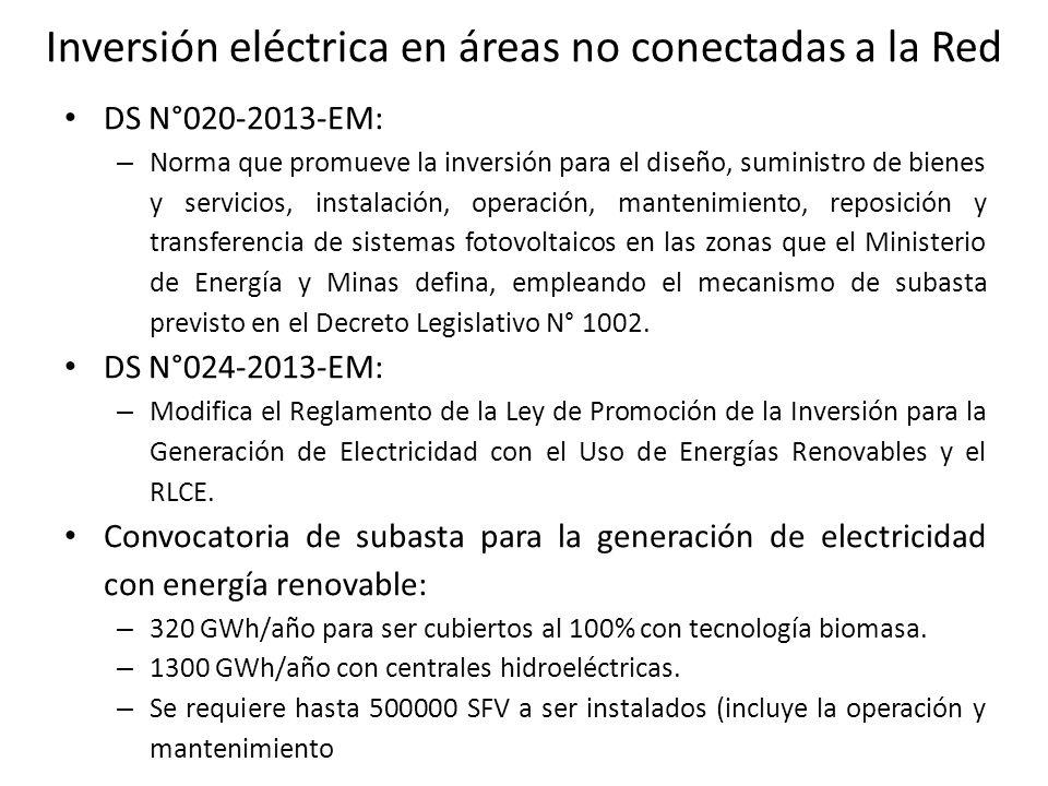 Inversión eléctrica en áreas no conectadas a la Red