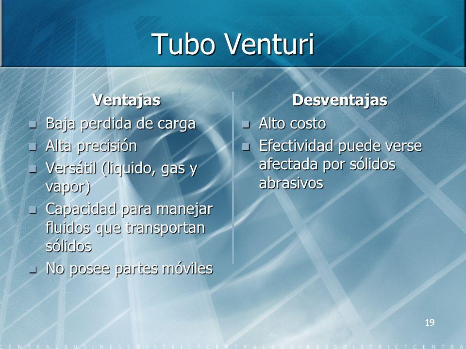 Tubo Venturi Ventajas Desventajas Baja perdida de carga Alta precisión