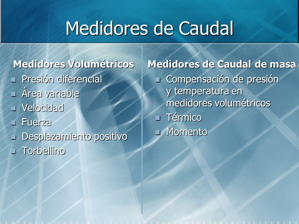 Medidores Volumétricos Medidores de Caudal de masa