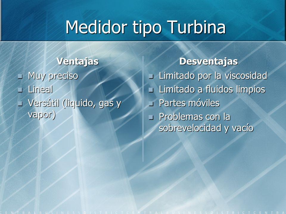 Medidor tipo Turbina Ventajas Desventajas Muy preciso Lineal