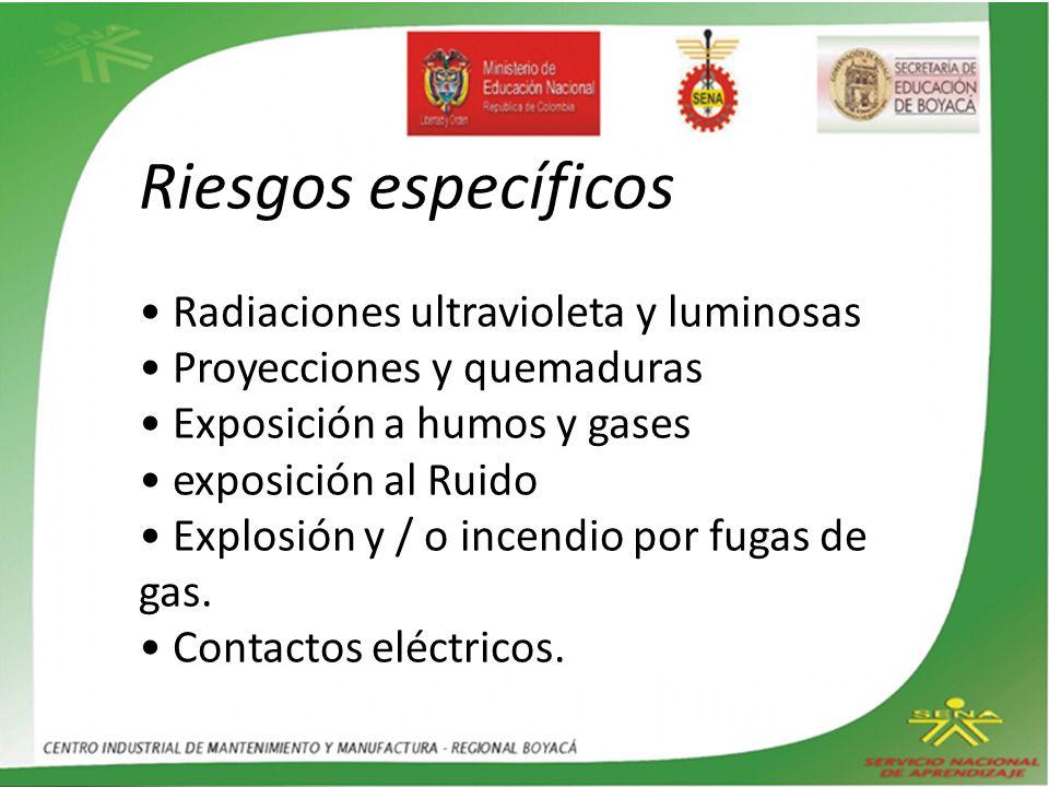 Riesgos específicos • Radiaciones ultravioleta y luminosas