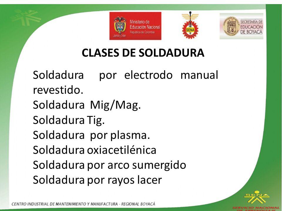 CLASES DE SOLDADURA Soldadura por electrodo manual revestido. Soldadura Mig/Mag. Soldadura Tig.