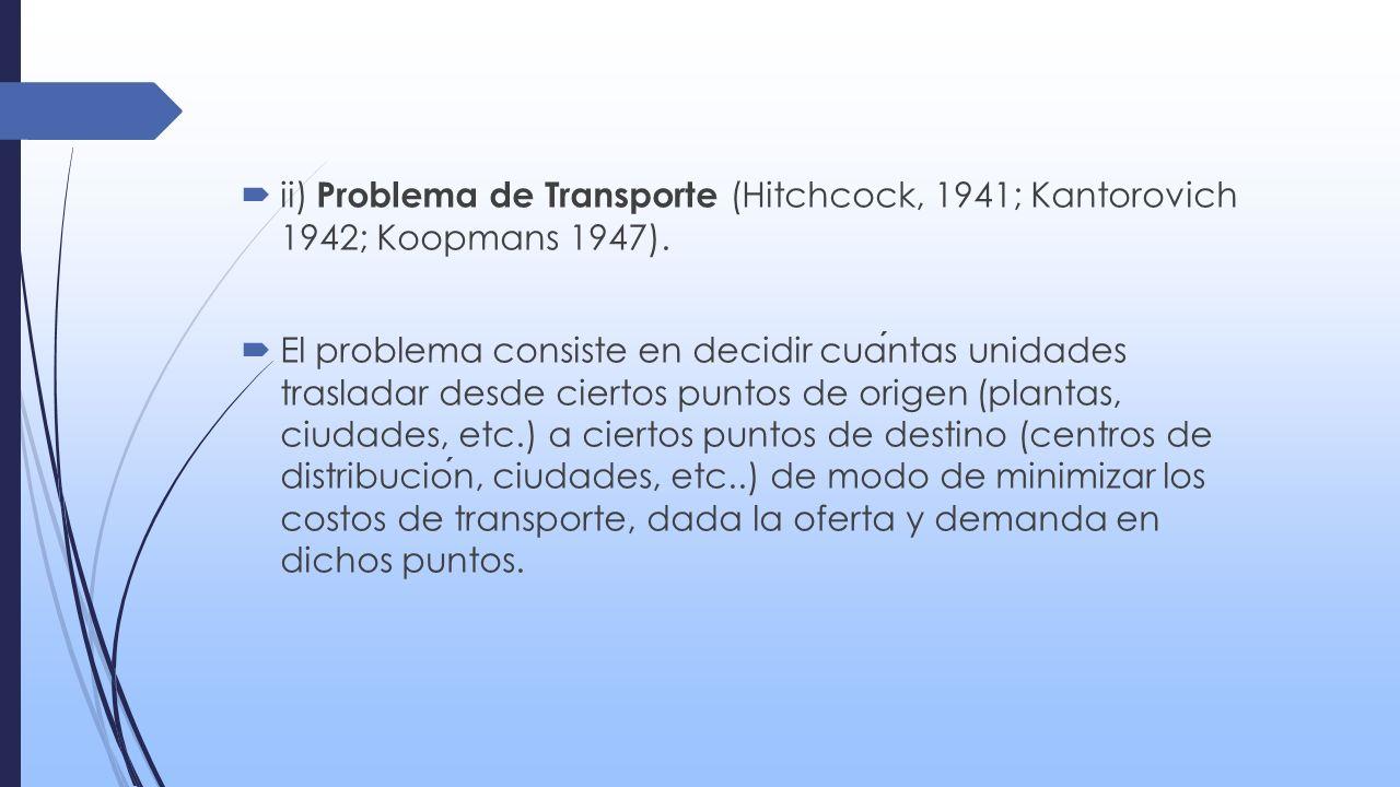 ii) Problema de Transporte (Hitchcock, 1941; Kantorovich 1942; Koopmans 1947).