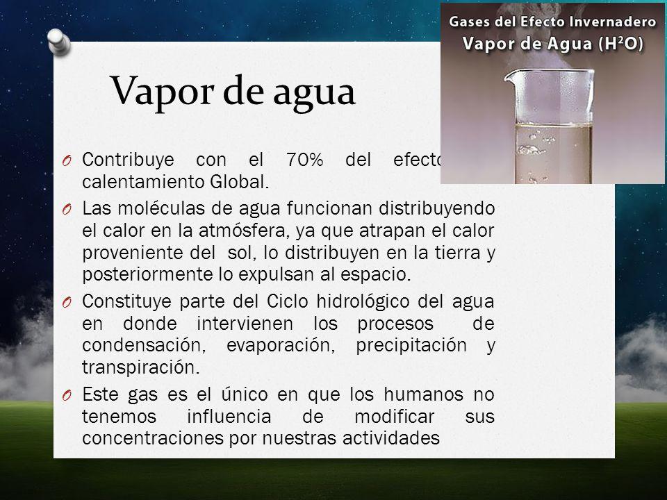 Vapor de agua Contribuye con el 70% del efecto del calentamiento Global.