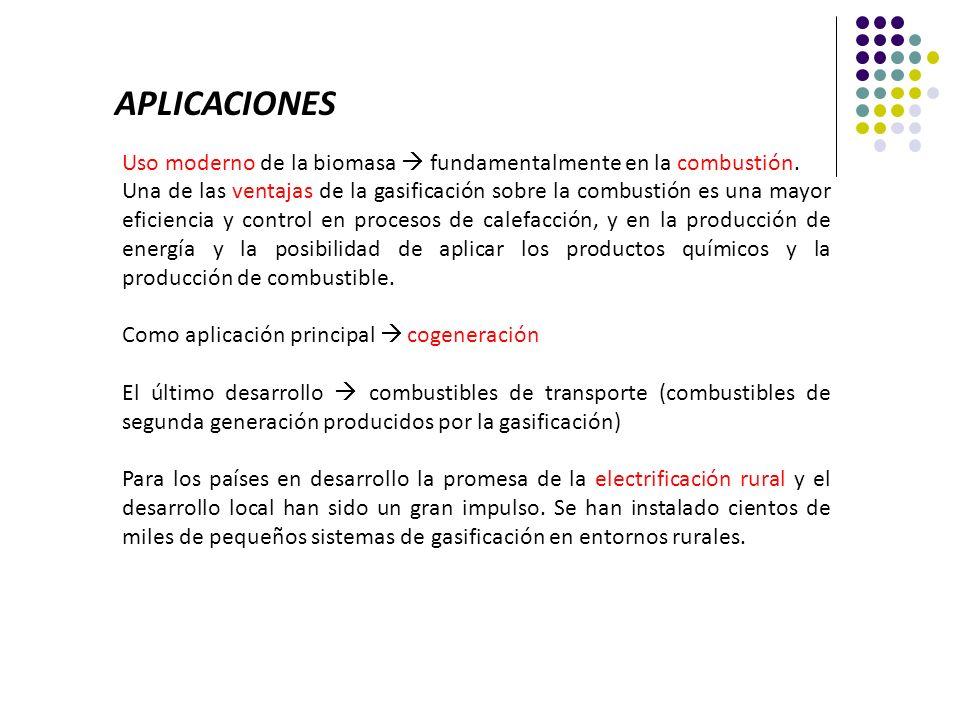 APLICACIONES Uso moderno de la biomasa  fundamentalmente en la combustión.