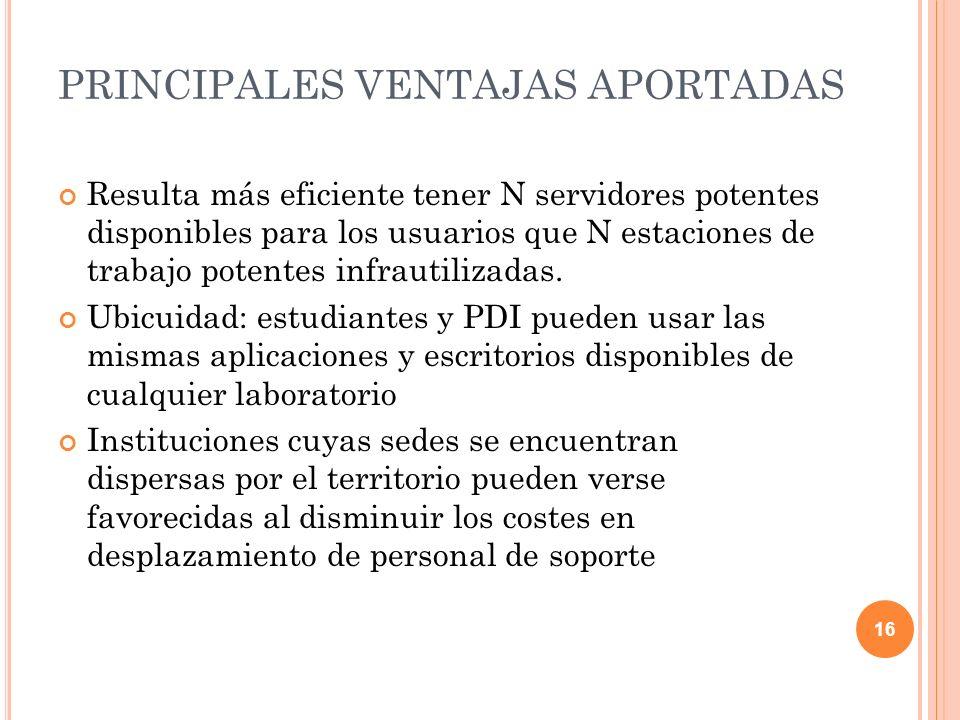 PRINCIPALES VENTAJAS APORTADAS