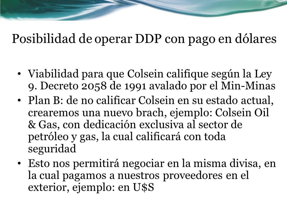 Posibilidad de operar DDP con pago en dólares