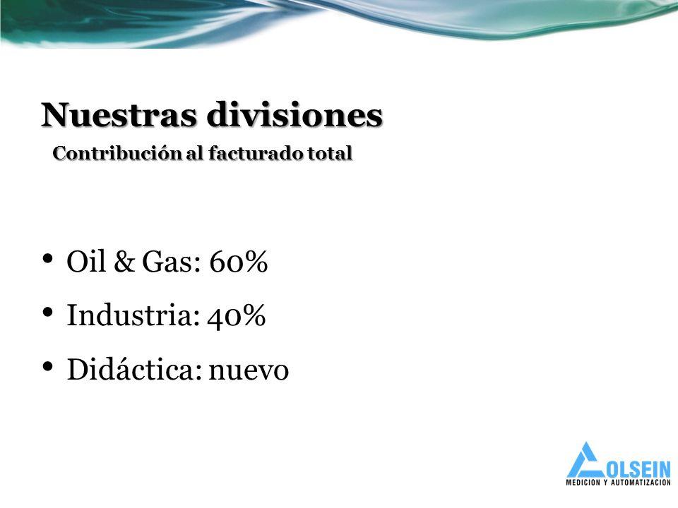 Nuestras divisiones Oil & Gas: 60% Industria: 40% Didáctica: nuevo