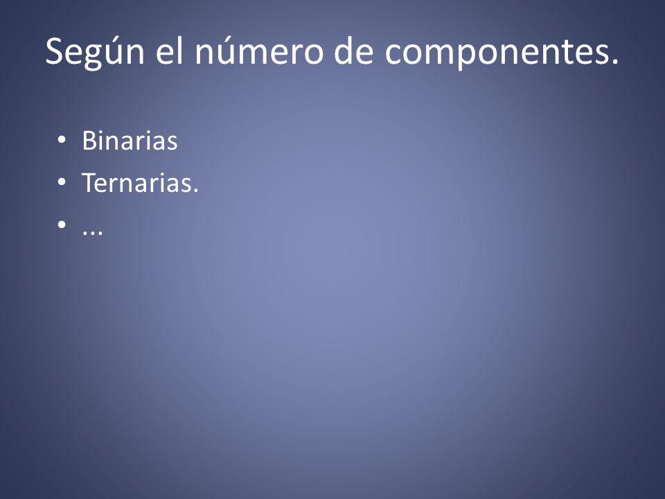 Según el número de componentes.