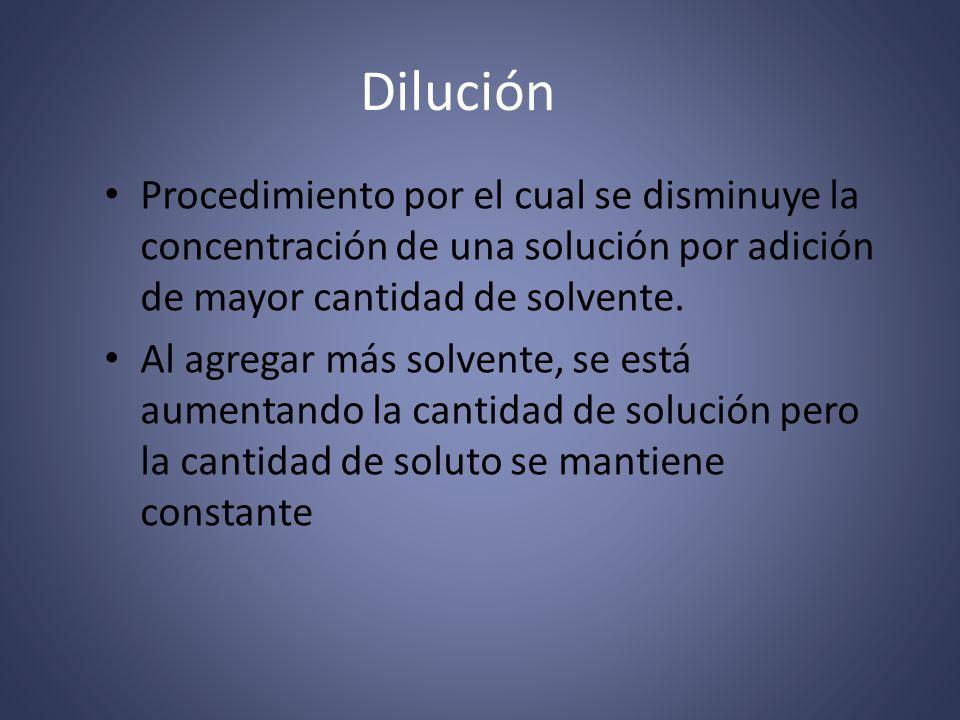 Dilución Procedimiento por el cual se disminuye la concentración de una solución por adición de mayor cantidad de solvente.