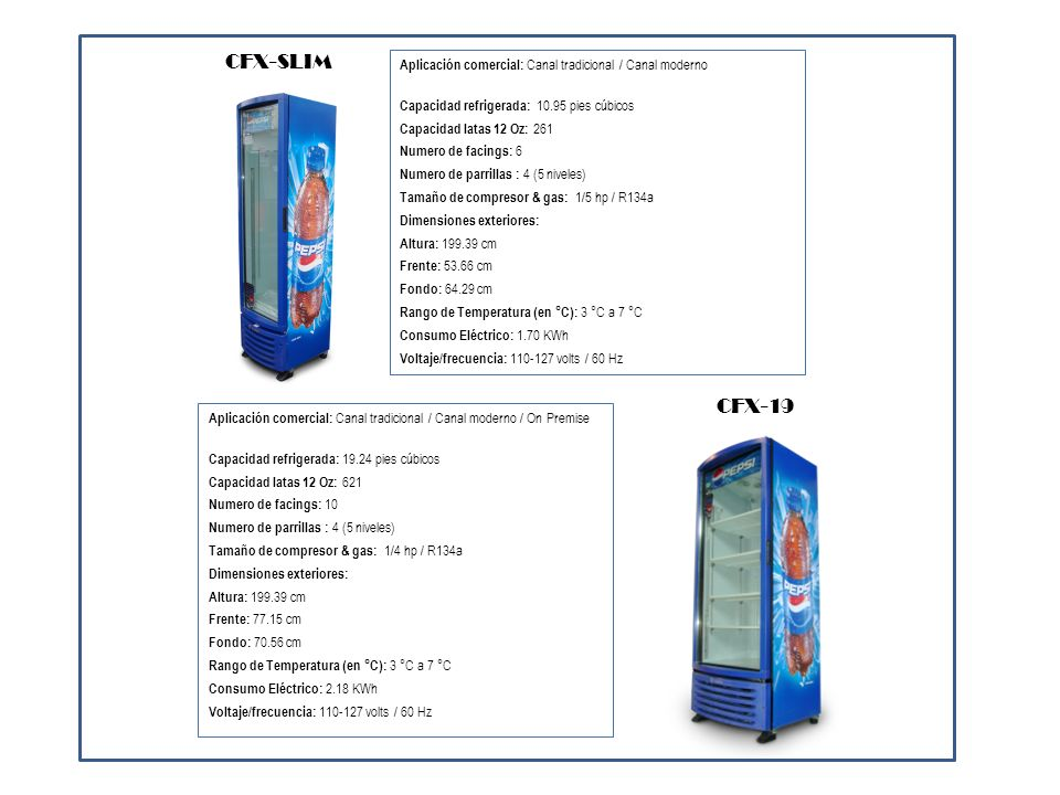 CFX-SLIM Aplicación comercial: Canal tradicional / Canal moderno. Capacidad refrigerada: 10.95 pies cúbicos.