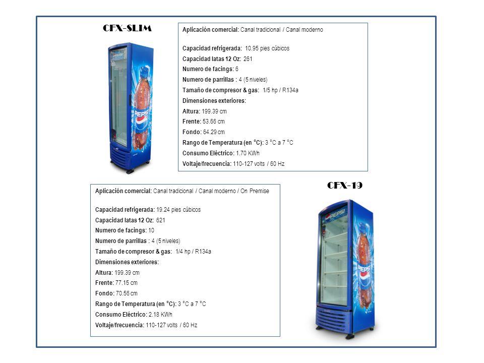 CFX-SLIMAplicación comercial: Canal tradicional / Canal moderno. Capacidad refrigerada: 10.95 pies cúbicos.