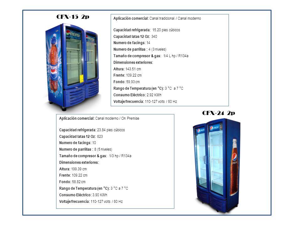 CFX-15 2pAplicación comercial: Canal tradicional / Canal moderno. Capacidad refrigerada: 15.20 pies cúbicos.