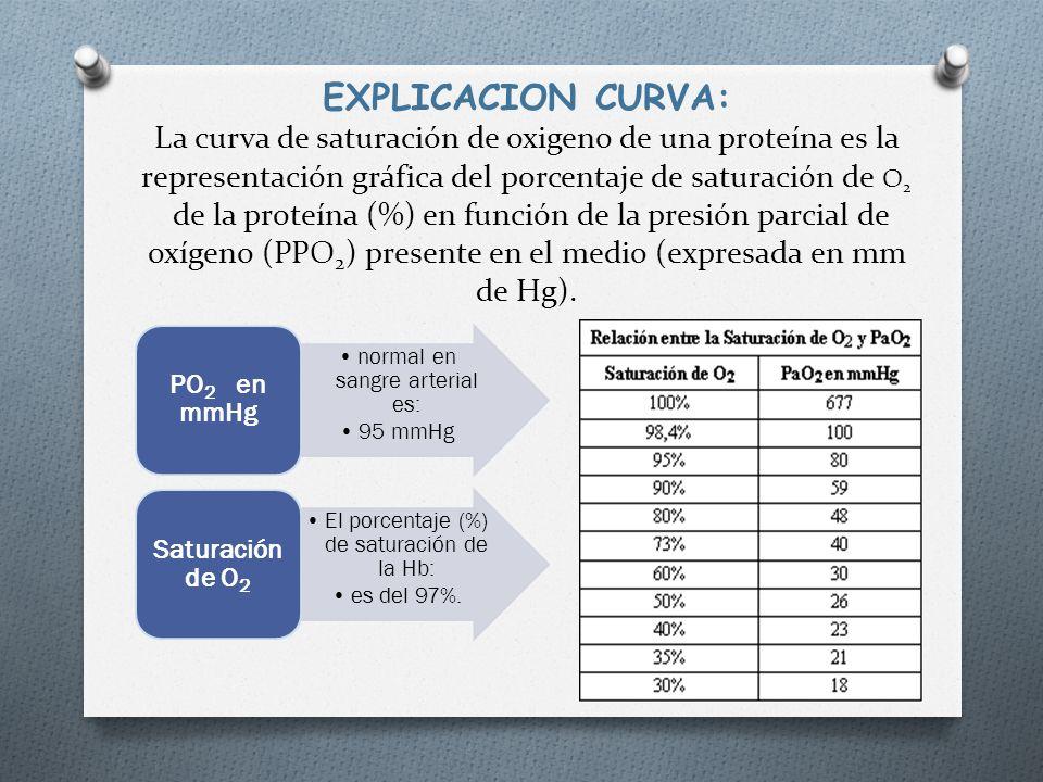 EXPLICACION CURVA: La curva de saturación de oxigeno de una proteína es la representación gráfica del porcentaje de saturación de O2 de la proteína (%) en función de la presión parcial de oxígeno (PPO2) presente en el medio (expresada en mm de Hg).