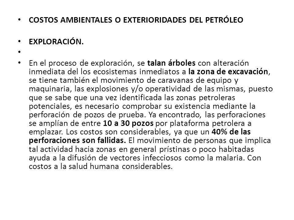 COSTOS AMBIENTALES O EXTERIORIDADES DEL PETRÓLEO
