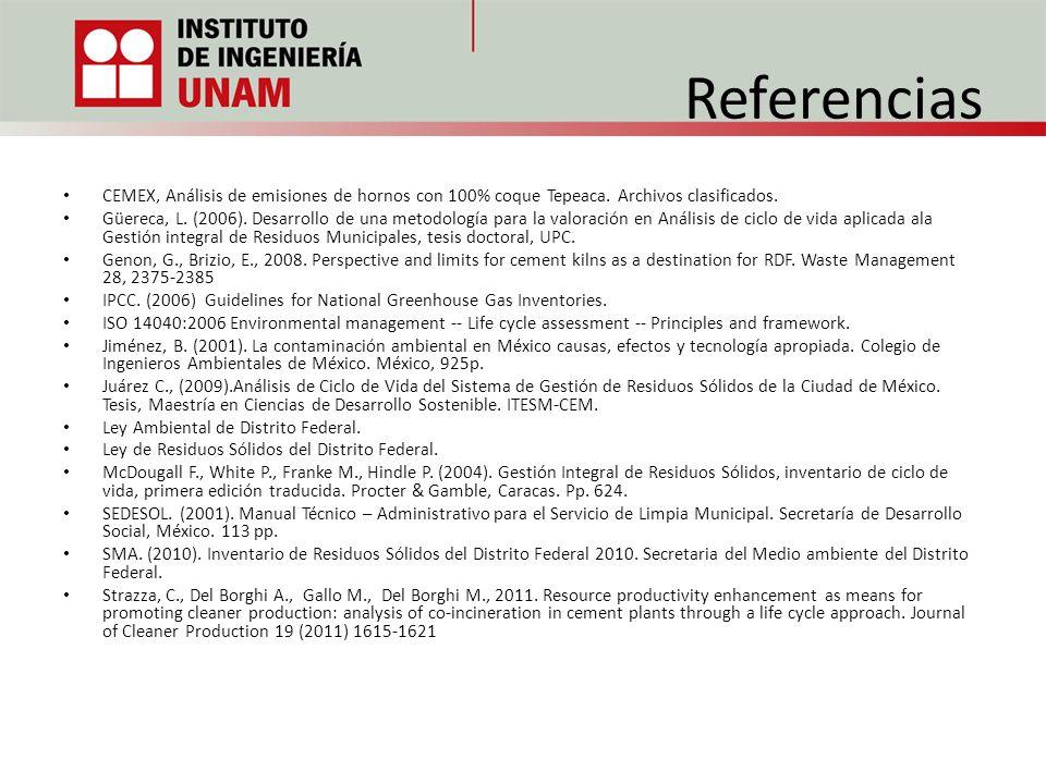 Referencias CEMEX, Análisis de emisiones de hornos con 100% coque Tepeaca. Archivos clasificados.