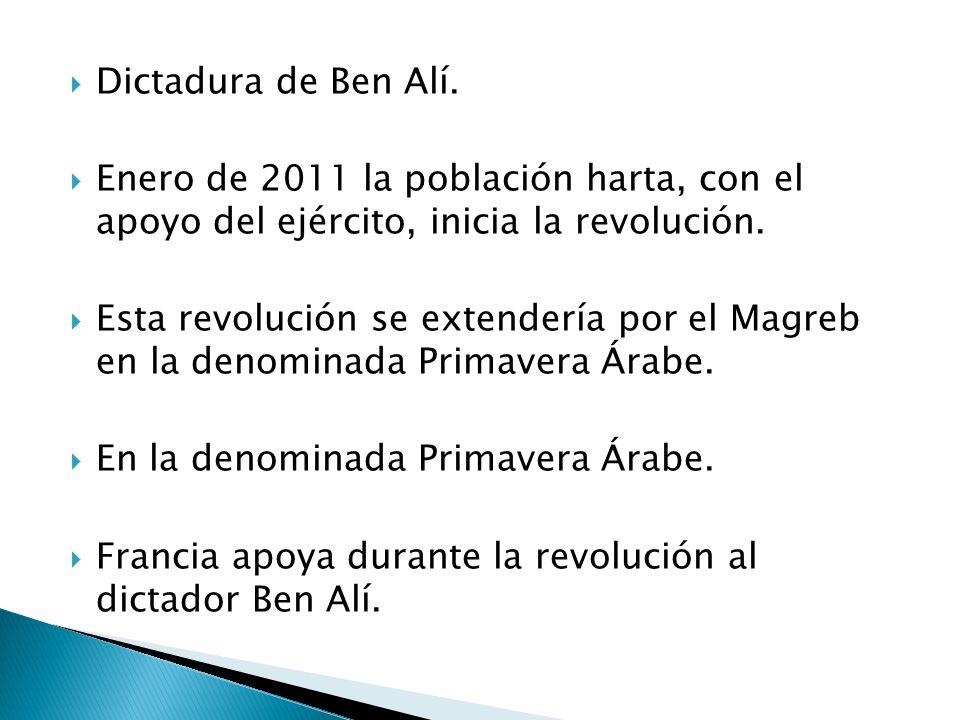 Dictadura de Ben Alí. Enero de 2011 la población harta, con el apoyo del ejército, inicia la revolución.