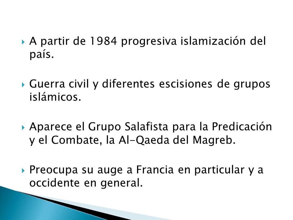 A partir de 1984 progresiva islamización del país.