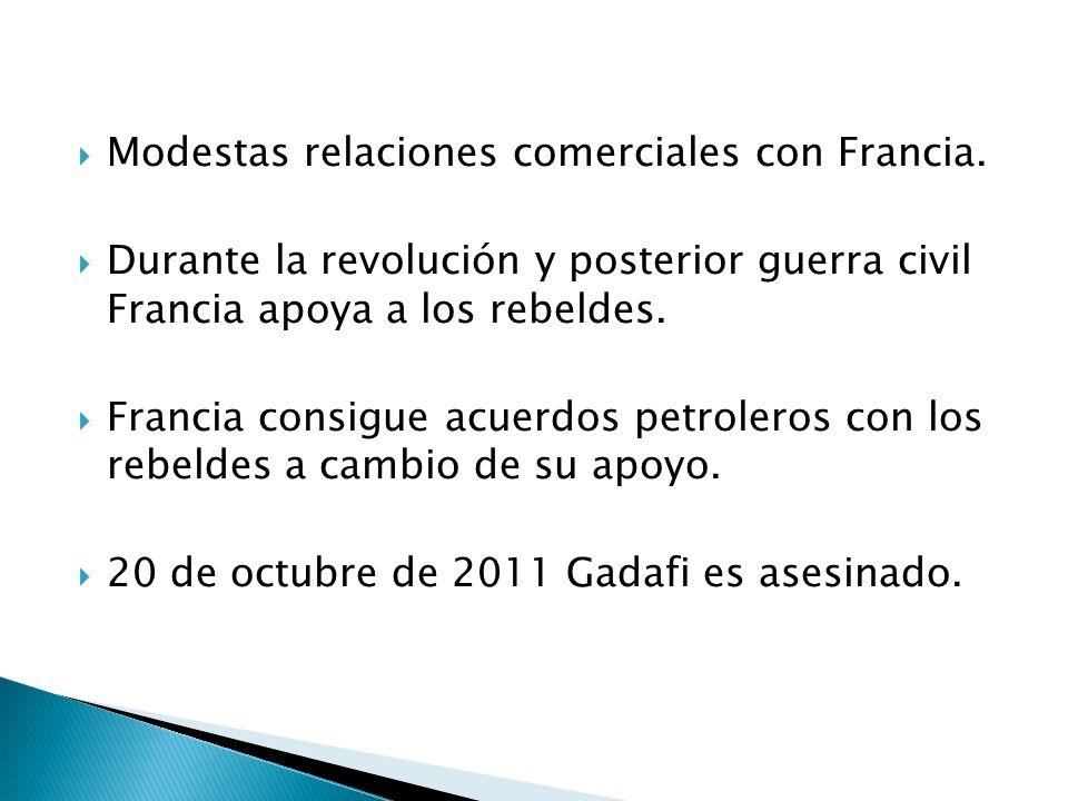 Modestas relaciones comerciales con Francia.