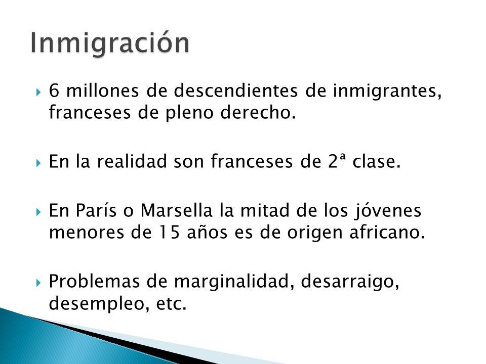 Inmigración 6 millones de descendientes de inmigrantes, franceses de pleno derecho. En la realidad son franceses de 2ª clase.