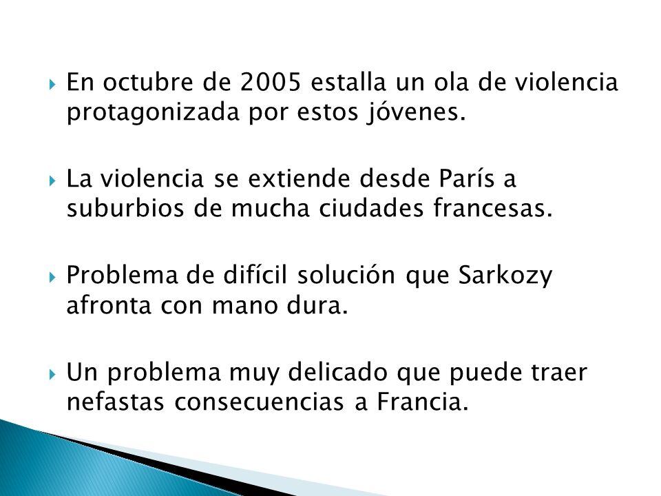 En octubre de 2005 estalla un ola de violencia protagonizada por estos jóvenes.