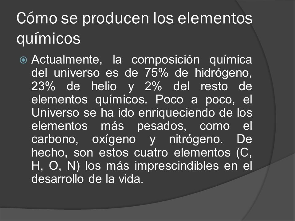 Cómo se producen los elementos químicos