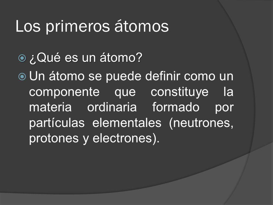 Los primeros átomos ¿Qué es un átomo