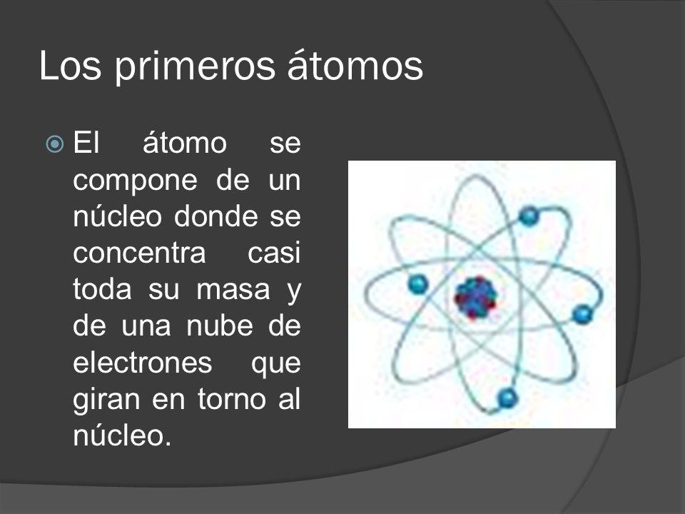 Los primeros átomos El átomo se compone de un núcleo donde se concentra casi toda su masa y de una nube de electrones que giran en torno al núcleo.