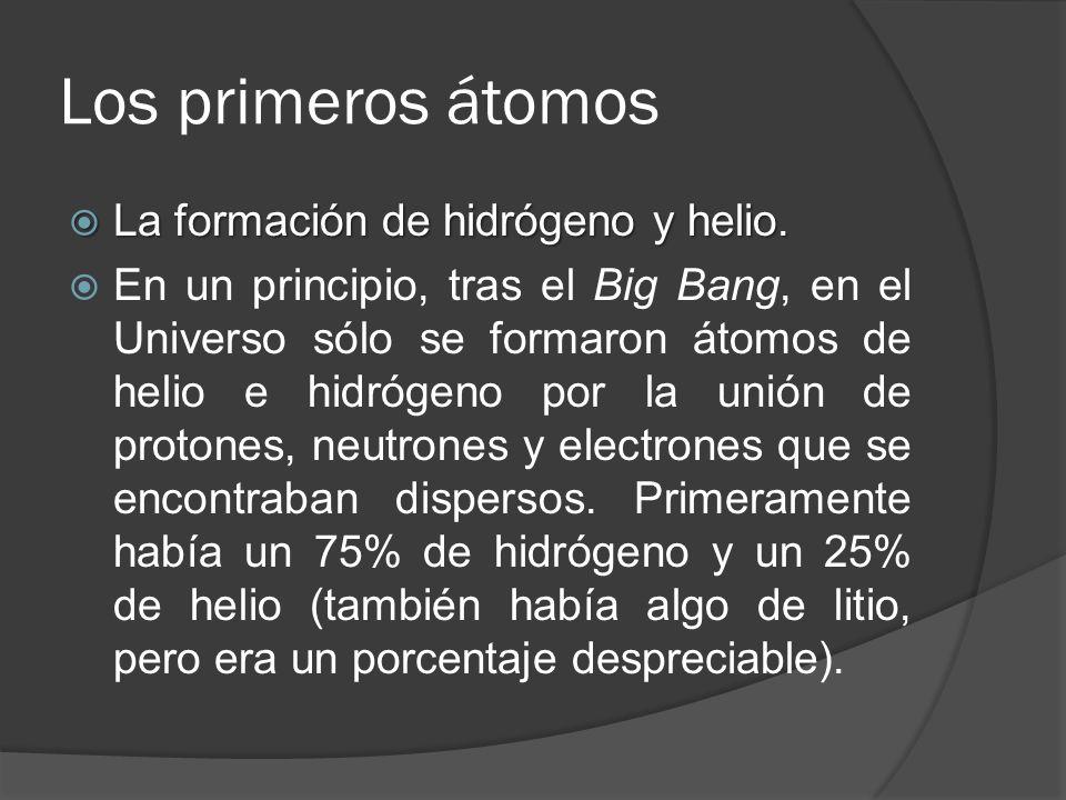 Los primeros átomos La formación de hidrógeno y helio.