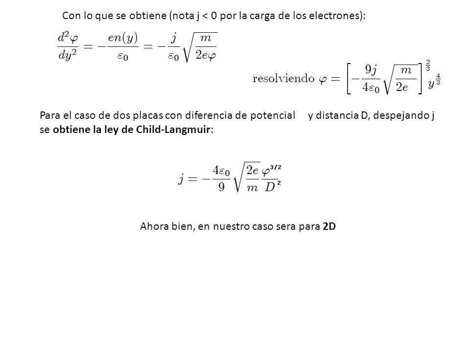 Con lo que se obtiene (nota j < 0 por la carga de los electrones):