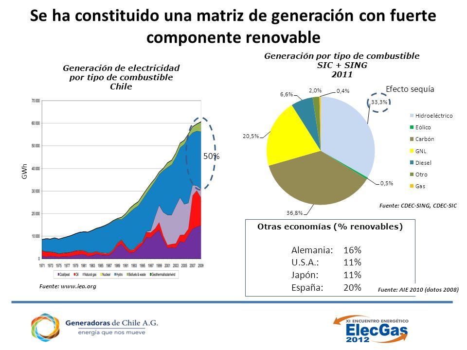 Se ha constituido una matriz de generación con fuerte componente renovable