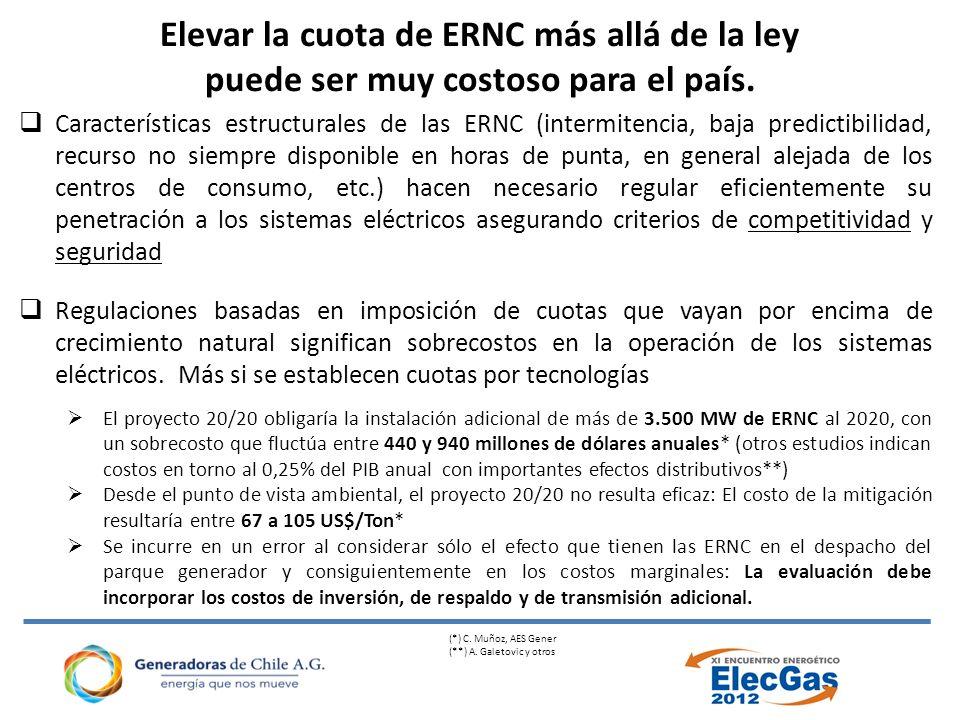 Elevar la cuota de ERNC más allá de la ley puede ser muy costoso para el país.