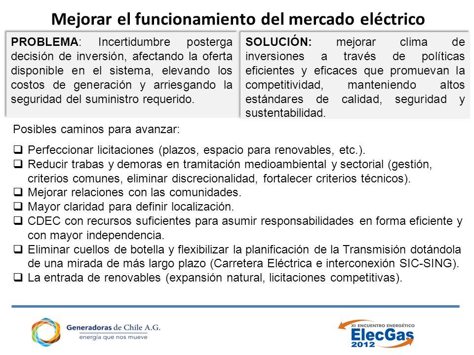 Mejorar el funcionamiento del mercado eléctrico