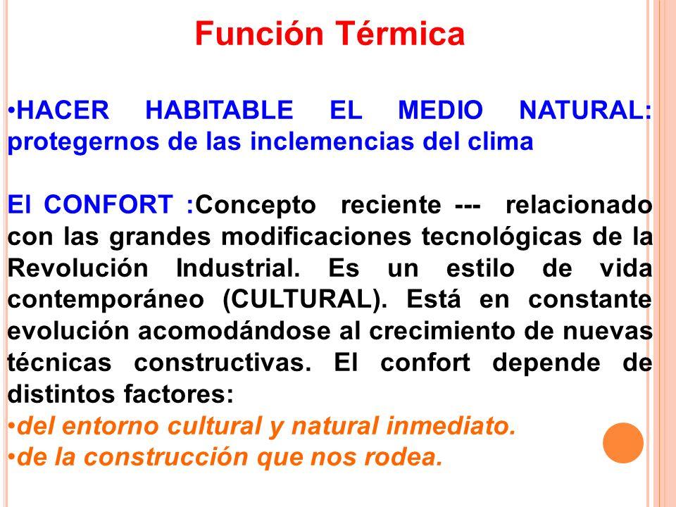 Función Térmica HACER HABITABLE EL MEDIO NATURAL: protegernos de las inclemencias del clima.