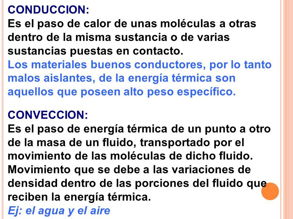 CONDUCCION: Es el paso de calor de unas moléculas a otras dentro de la misma sustancia o de varias sustancias puestas en contacto.