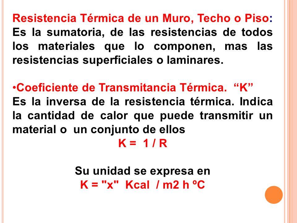 Resistencia Térmica de un Muro, Techo o Piso: Es la sumatoria, de las resistencias de todos los materiales que lo componen, mas las resistencias superficiales o laminares.