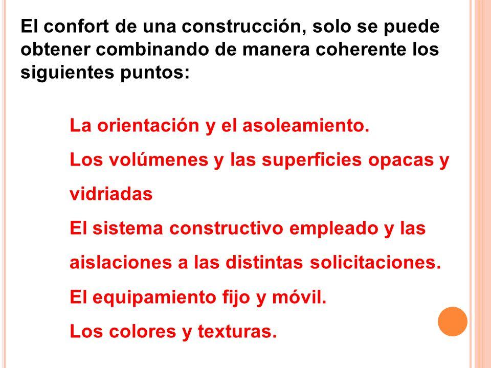 El confort de una construcción, solo se puede obtener combinando de manera coherente los siguientes puntos: