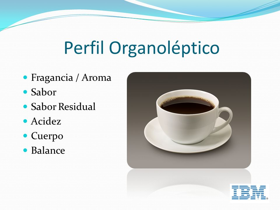 Perfil Organoléptico Fragancia / Aroma Sabor Sabor Residual Acidez