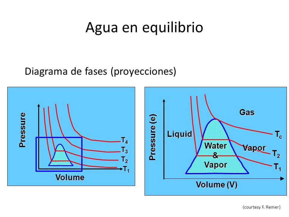 Agua en equilibrio Diagrama de fases (proyecciones) Gas Pressure