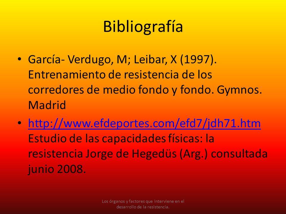 Bibliografía García- Verdugo, M; Leibar, X (1997). Entrenamiento de resistencia de los corredores de medio fondo y fondo. Gymnos. Madrid.